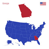 The State of Georgia is Highlighted in Red. Blue Vector Map of the United States Divided into Separate States. Map of the USA Split into Individual States.