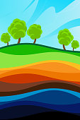 Layers of the earth against the sky. The structure of the earth. Cartoon scheme. Geology scheme.