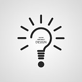The stylized lamp and question mark.Monochrome icon.Concept of the idea, innovation, necessary decision.Vector illustration.Minimalism.