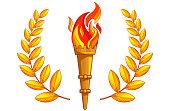 Torch with burning fire and golden laurel around on a white background. Isolated object. The symbol of sports victories, a victory of the champion of the competition. Sign laurel wreath. Gold. Vector.