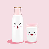 The traditional bottle of milk and glass of milk isolated on pink background.  Vector cartoon design.  Vector illustration.
