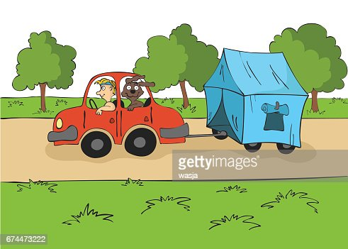 The trailering. Driver with a dog ride in the car with a tent on the trailer. Cartoon vector illustration : Arte vettoriale