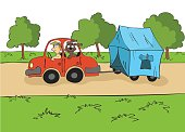 The trailering. Driver with a dog ride in the red car with a tent on the trailer. Cartoon vector illustration.
