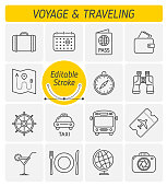The traveling and voyage outline vector icon set. A holidays, vacation and tourism symbols. The camera, airplane ticket, food, money, car, bus, thin linear vector icons with editable strokes width.