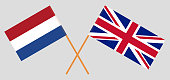 The UK and Netherlands. British and Netherlandish flags. Official colors. Correct proportion. Vector illustration