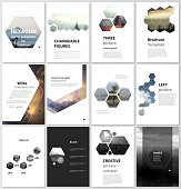 The vector illustration of the editable layout of A4 format covers design templates for brochure, magazine, flyer, booklet, report. Abstract polygonal modern style with hexagons