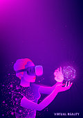 The virtual reality glasses. Modern innovative technology. The woman in the headset vr. Abstract blue background. Floating blue plexus geometric image. Polygonal mesh and chaotic luminous particles.
