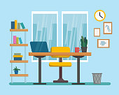 The workplace interior cartoon design. Freelancer, designer office workstation. Business concept flat style cartoon vector illustration