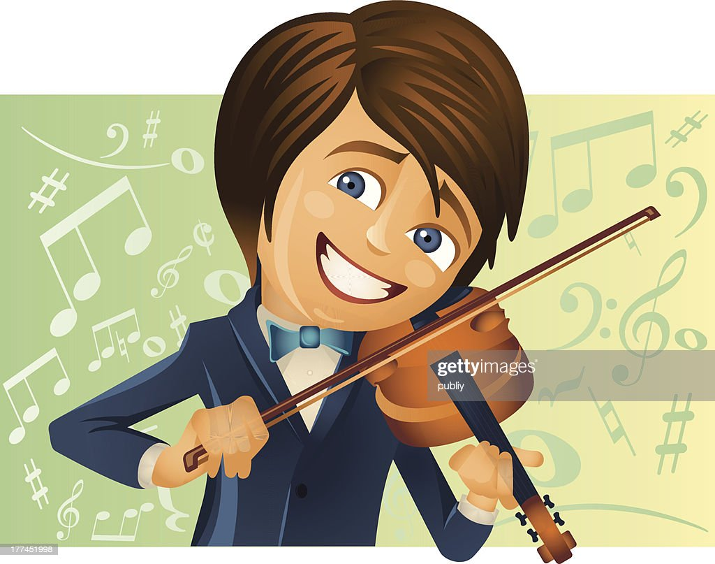 The young violinist : Vector Art
