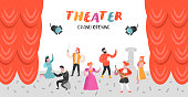 Theater Actor Characters Set. Flat People Theatrical Stage Poster. Artistic Performances Man and Woman. Vector illustration