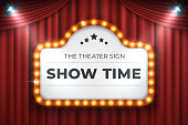 Theater cinema sign. Movie light frame, retro marquee banner on red background. Vector light bulb realistic 3D billboard