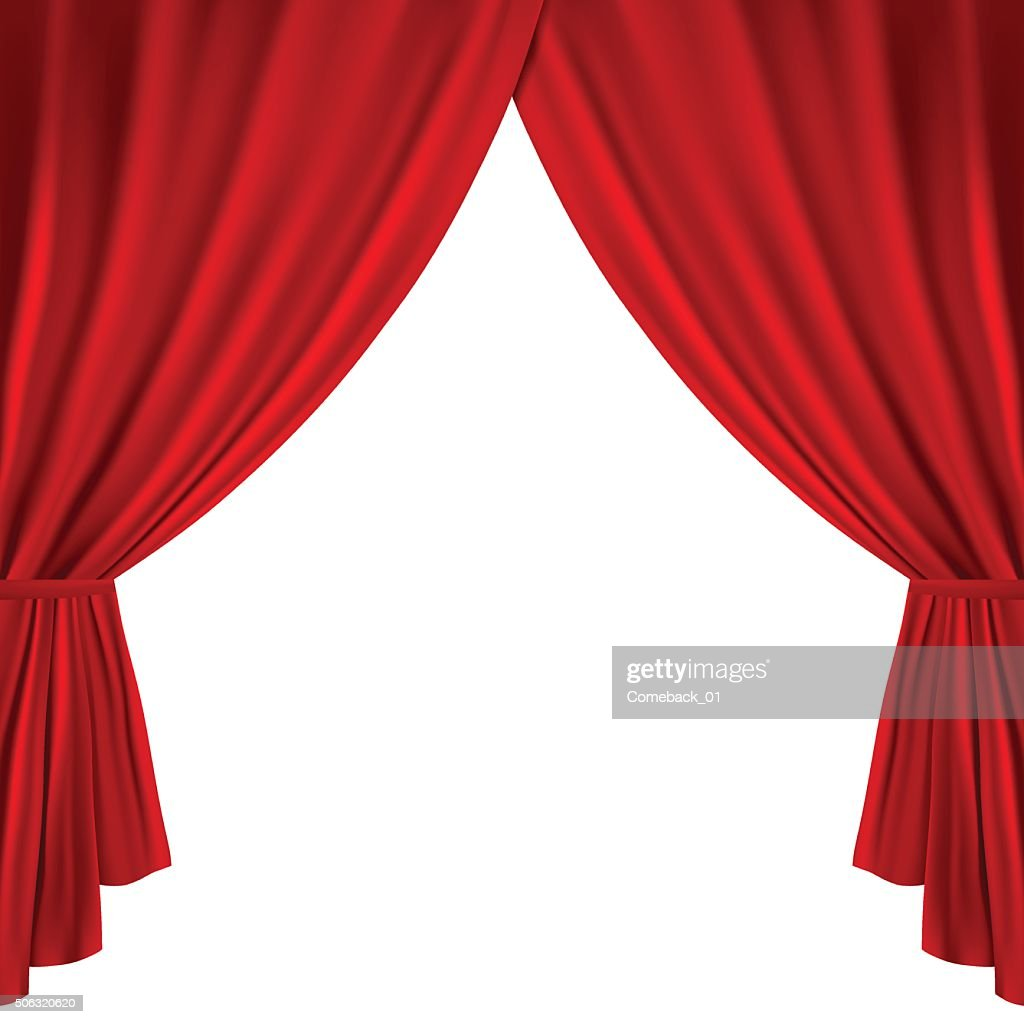 Red Theater Curtains Isolated