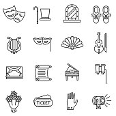 Theater linear icons. Theatre collection of isolated symbols