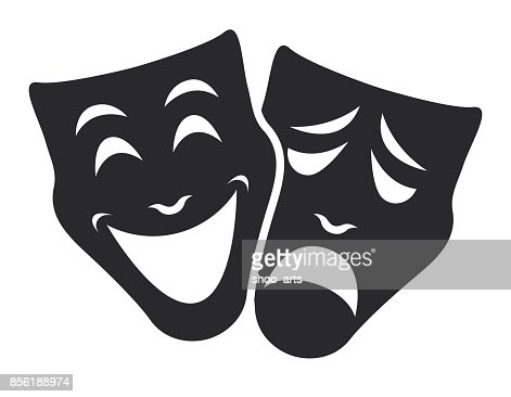 theater mask symbols vector set, sad and happy concept : Vector Art