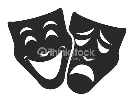 theater mask symbols vector set, sad and happy concept : stock vector