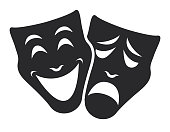 theater emotion mask symbols vector set, sad and happy concept