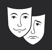 theater emotion mask symbols vector set, sad and happy concept
