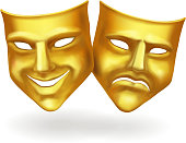 Theater masks, gold icons realistic vector isolated