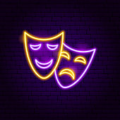 Theater Masks Neon Sign. Vector Illustration of Theatre Promotion.