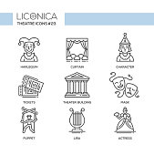 Theater- modern color vector single line design icons set. Harlequin, curtain, character, ticket, building, tragedy, comedy mask, puppet, lira, actress