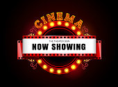 Theater sign theater glowing circle retro style cinema neon sign vector illustration