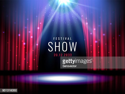 Theater stage with red curtain and spotlight Vector festive template with lights and scene. Poster design for concert, theater, party, dance, event, show. Illumination and scenery decoration : stock vector