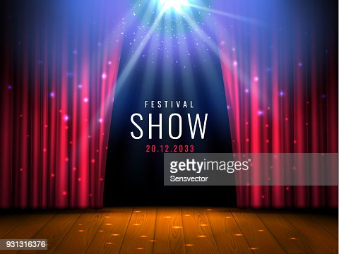 Theater wooden stage with red curtain and spotlight Vector festive template with lights and scene. Poster design for concert, theater, party, dance, event, show. Illumination and scenery decoration : stock vector