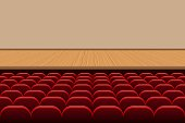 Theatre hall with rows of red seats and wooden stage vector illustration