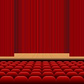 Theatre hall with rows of red seats, wooden stage and red velvet curtain vector illustration