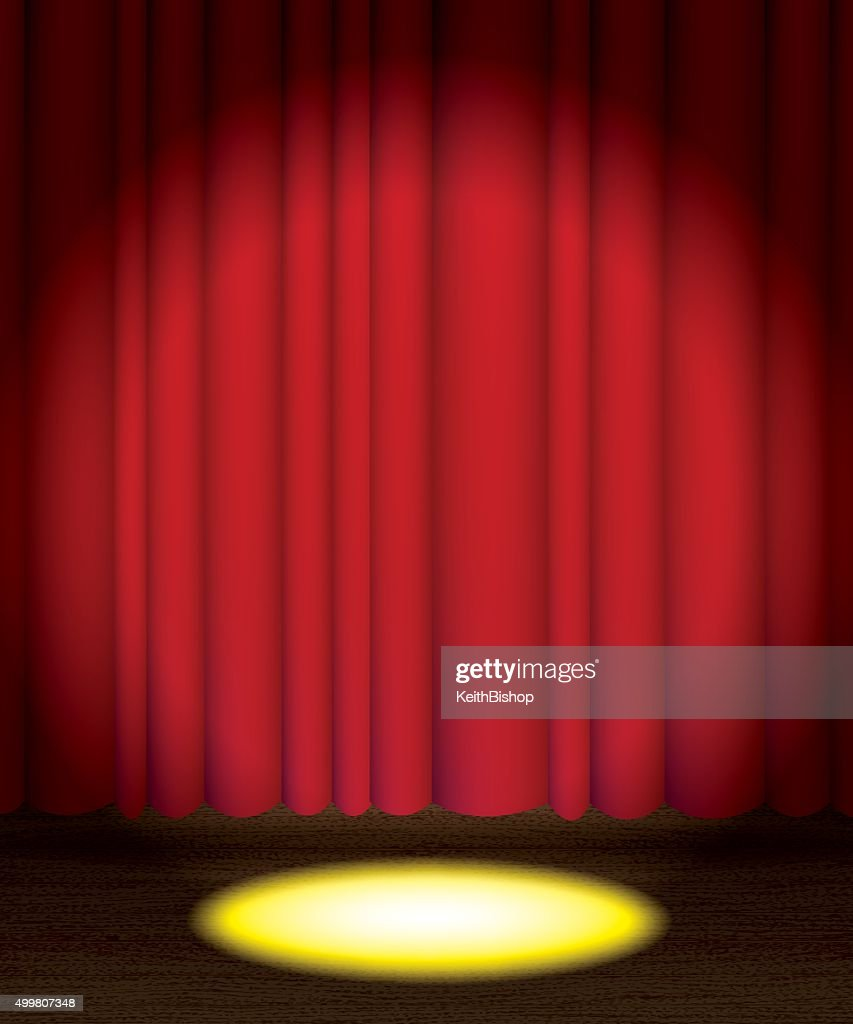 Stage curtains spotlight - Theatre Stage Curtain With Spotlight Background Vector Art
