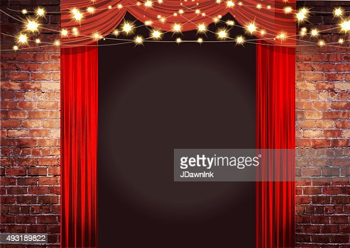 Theatre Stage Rustic Brick Wall With Elegant String Lights Curtains Vector Art Getty Images