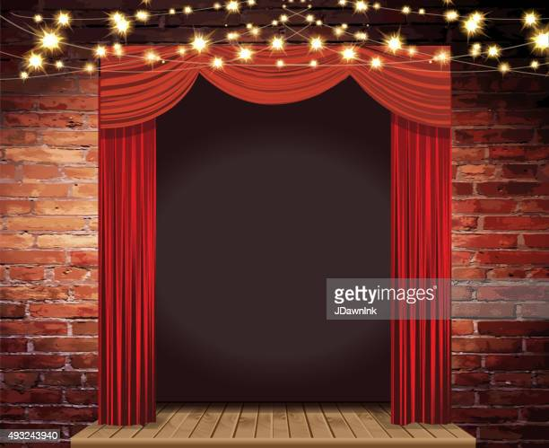 Theatre Stage Rustic brick wall with elegant string lights, curtains