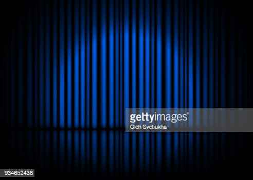 Theatrical scene with blue curtains and reflection. Stock vector illustration : stock vector
