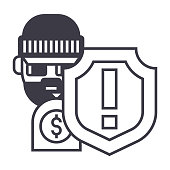 theft thievery  steal vector line icon, sign, illustration on white background, editable strokes
