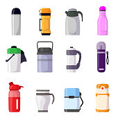 Thermos vector vacuum flask or bottle with hot drink coffee or tea illustration set of metal container or aluminum mug or cup isolated on white background.