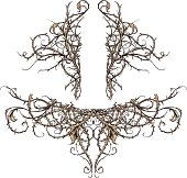 Vector set of two highly detailed thorny thicket design elements. These scroll ornaments are perfect for accents in backgrounds, crests, banners, etc. Each set is made of only three colors (outline, b