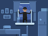 Thief broken in through the window. Burglar broken window, criminal robber in mask, vector illustration
