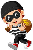 illustration of Thief cartoon carrying bag of money with a dollar sign