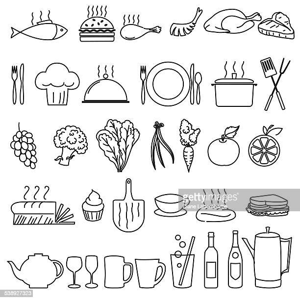 Thin Line Art Restaurant And Food Industry Icons