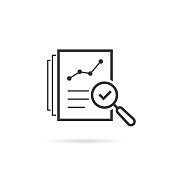thin line assess icon like review audit risk. linear flat trend quality graphic art design isolated on white background. concept of find internal vulnerable bill or data research and survey