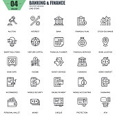 Thin line banking and finance icons set for website and mobile site and apps. Contains such Icons as Bank, Money, Financial Plan, M-commerce. 48x48 Pixel Perfect. Editable Stroke. Vector illustration.