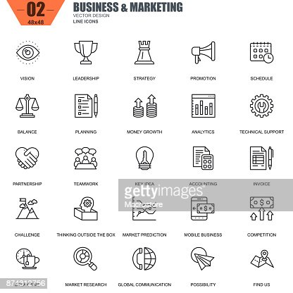 Thin line business and marketing icons set for website : Arte vetorial