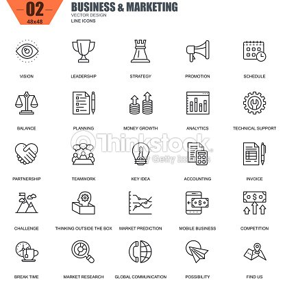 Thin line business and marketing icons set for website : stock vector