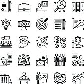 Thin line business icons set. Trendy web icons set. Premium quality thin line design concept for web banner, web sites, logo, mobile apps, infographics. Black vector icons isolated on white background
