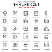 Thin line creative process and project workflow icons set for website and mobile site and apps. Contains such Icons as Media, Idea. 48x48 Pixel Perfect. Linear pictogram pack. Vector illustration.