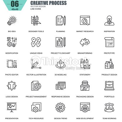 Thin Line Creative Process And Project Workflow Icons Vector Art