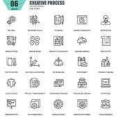 Thin line creative process and project workflow icons set for website and mobile site and apps. Contains such Icons as Inspiration, Big Idea. 48x48 Pixel Perfect. Editable Stroke. Vector illustration.