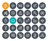 Premium quality outline symbol collection of blockchain technology, bitcoin, altcoins, mining, finance, digital money market, cryptocoin wallet, stock exchange.