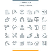 Thin line design icons on construction theme. Building, home repair tools and construction works symbols. Vector illustration