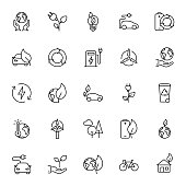 Thin line Ecology icons set on white background